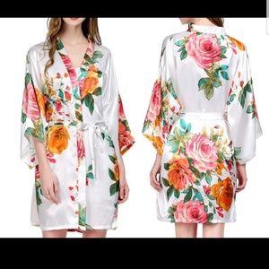 Other - Satin Kimono Style Floral Robes